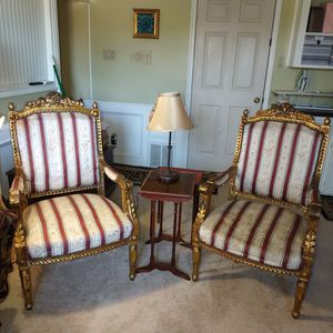 Antique Pair Of Gold Leaf French Chair's for Sale in Alvin, TX