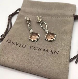 David Yurman Morganite Cushion on Point Earrings for Sale in Queens, NY