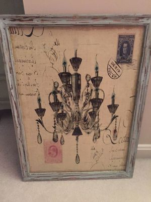 Chandelier art with distressed wood frame for Sale in Gainesville, VA