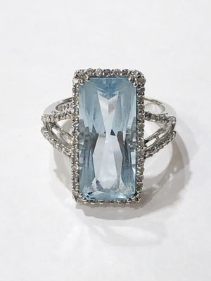 14K White Gold Woman's Solitaire Ring Size 6.5 with approx. 5.00ct Blue Stone and 0.66cttw Diamonds **Great Buy** 10011846-2 for Sale in Tampa, FL
