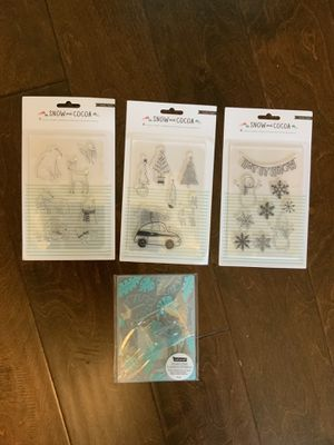 Crate Paper Snow & Cocoa Acrylic Stamps set - extra gift is embossing folder with flamingo stamp for Sale in Buford, GA