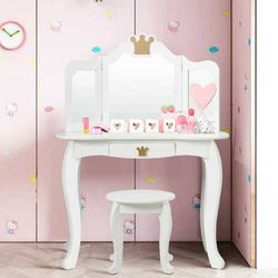 Kids Makeup Dressing Table Chair Set Princess Vanity & Tri-folding Mirror White for Sale in Walnut,  CA