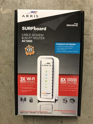 ARRIS SURFboard (8x4) DOCSIS 3.0 Cable Modem/ AC1600 Wi-Fi Router. Approved for Xfinity, Cox, Charter and most othe Cable Internet Providers for plan for Sale in Midland Park, NJ