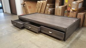 Twin Size 3-Drawer Storage Bed Frame, Distressed Grey for Sale in Santa Ana, CA