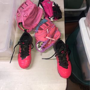 Softball Gloves And Cleats Like New One Is New for Sale in Freehold, NJ