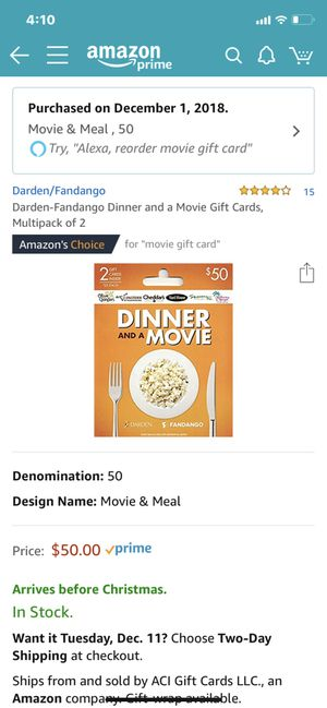 3-$50 dinner and a movie gift cards for $5 off per card. Will sell separately or together. for Sale in Jefferson City, TN