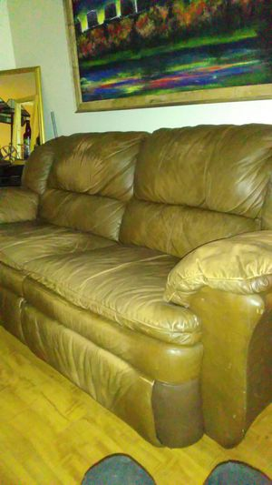 Brown leather sofa recliner for Sale in Denver, CO