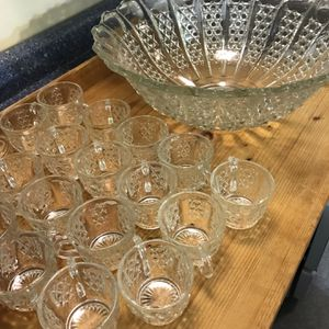 19-piece Antique Diamond Cut Punch Bowl for Sale in River Forest, IL