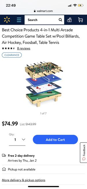 Kids Toy Game Table 4-in-1 Set w/Pool Billiards, Air Hockey, Foosball, Ping Pong for Sale in Lithia, FL