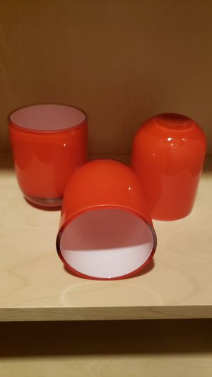 """4"""" RED GLASS TRIO VOTIVE CANDLE HOLDERS for Sale in Joliet, IL"""