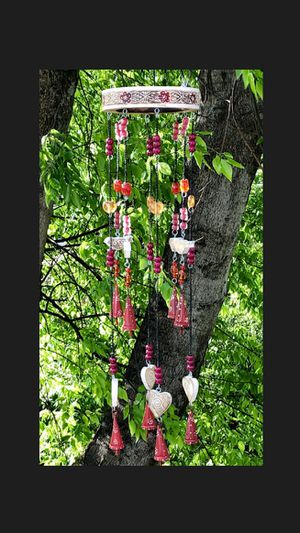 Wood Birds & Hearts Iron Red Bells & Beads Large Wind Chime Sun Catcher Mobile for Sale in Nashville, TN