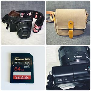 Canon EOS M100 - 64GB SD Card and Camera Bag for Sale in Las Vegas, NV