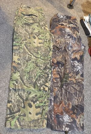 two pairs of Mossy Oak brand camo pants both size XL for Sale in Portland, OR
