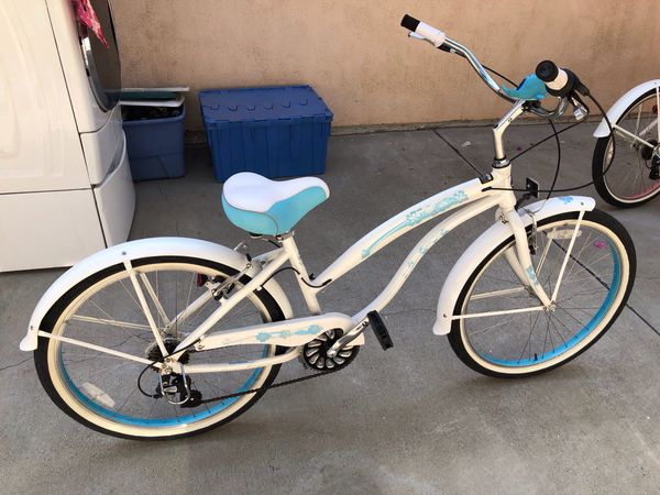 -Blue And White GreenLine 26 Inch's Women's Beach Cruiser Bicycle Cruiser-