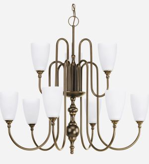 ANTIQUE BRONZE 9-LIGHT LARGE CHANDELIER WITH GLASS SHADES for Sale in Houston, TX