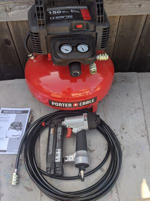 Porter-Cable 6 gallon air compressor with 18 gauge nail gun kit and hose for Sale in Brea, CA