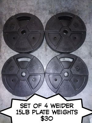 Set of 4 weider 15lb plate weights for Sale in Virginia Beach, VA