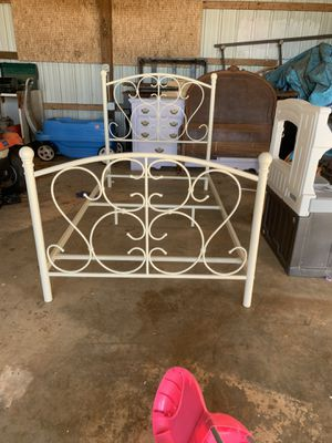 Off white twin metal bed frame for Sale in Meeker, OK