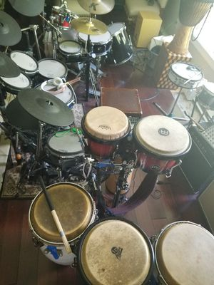 DRUMS electric drums hand drums and acoustic set for Sale in Penn Valley, PA