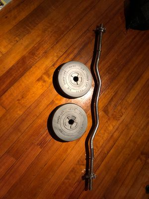 Work out curling bar with weights for Sale in Peabody, MA