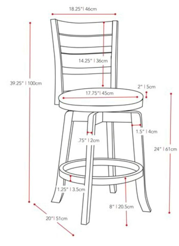 """(1) Woodgrove 24"""" Counter Height Wood Swivel Bar Stools with White Leatherette Seat and 3-Slat Backrest"""