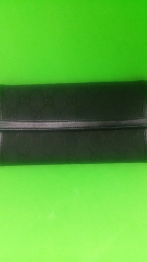 Vintage Gucci black fabric wallet with leather trim for Sale in Oak Lawn, IL