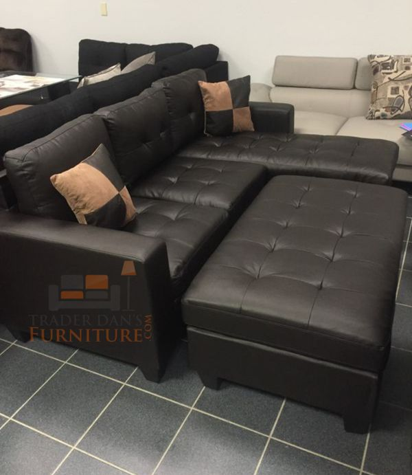Brand new bonded leather sectional sofa couch with ottoman