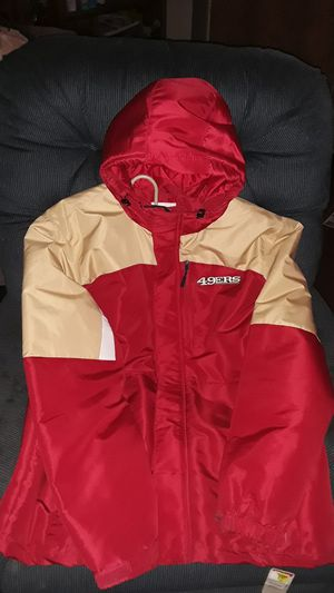 Mens 49ers bomber hoodie jacket size large never worn and has the tag on it for Sale in Tacoma, WA