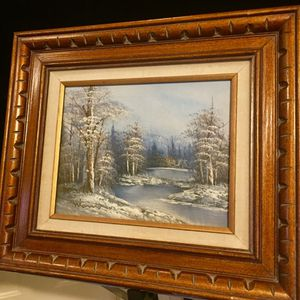 Beautiful old vintage original oil painting by Antonio - Winter Scenery H14/8xW16/10 inch Lbs 2.2 for Sale in Chandler, AZ