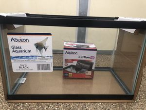 10 gal glass aquarium + 10 gal quiet flow water filter both by Aqueon for Sale in Westminster, CA