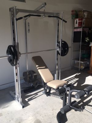 Bundle Deal: 260 lbs Weights, Squat Rack and Ostrich Skin Bench for Sale in Palm Desert, CA