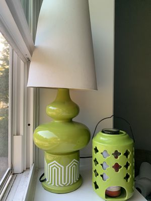 Light green lamp & candle holder set. Lime green to brighten up a room for Sale in Landover, MD