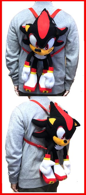 NEW! Sonic The Hedgehog SHADOW soft plush toy Backpack stuffed toy cartoon anime movie video games kid's bag Sega for Sale in Carson, CA