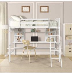 Twin Loft Bed with Desk, Solid Wood Twin Size Loft Bed with Shelves for Sale in Rosemead,  CA
