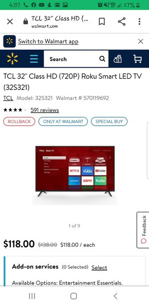 TCL roku no remote $60 smart tv for Sale in Odessa, TX