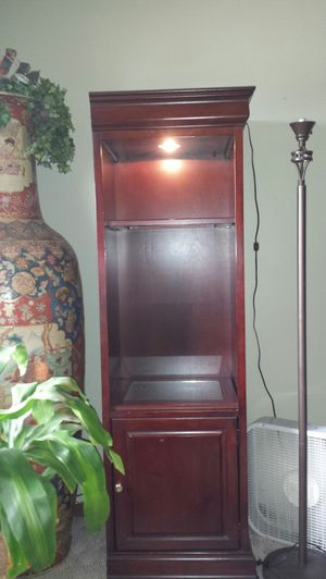 Brown wooden cabinet with 2 shelves for Sale in US