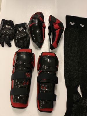 Motorcycle gear boots, helmet, gloves, shinguards, elbow guards, only wore once for Sale in North Providence, RI
