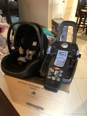 Peg Perego stroller and infant leather car seat with base for Sale in Knoxville, TN