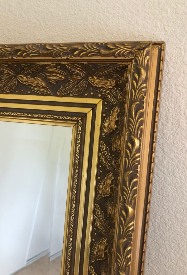 Bombay Furniture Company Gold Leaf Wood Frame Wall Mirror