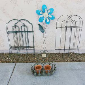Metal Yard Art Garden Decor Lot - Fence, Flower, Wall Basket, Terracotta Pots for Sale in Goodyear, AZ
