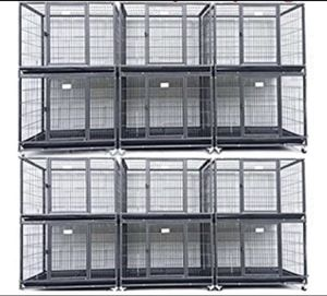 """HOMEY set of (12 ) Stackable 37"""" Heavy Duty Dog Cage kennel , Casters and Tray 🐶 see dimensions for each cage in second picture 🐶 End of summer Sale for Sale in Phoenix, AZ"""