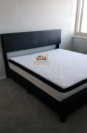 Brand New King Size Leather Platform Bed Frame + Pillowtop Mattress for Sale in Silver Spring, MD
