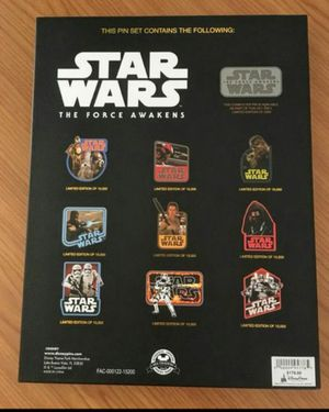 RARE LIMITED EDITION 2015 DISNEY STAR WARS THE FORCE AWAKENS PIN SET • RETAIL $179 for Sale in Orange, CA