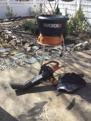 Worx electric leaf mulcher and worx electric leaf blower. Used once $75.00 for both for Sale in Clifton, NJ