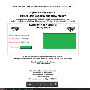 Timberline Lift Ticket - Valid until 5/31 for Sale in Portland, OR