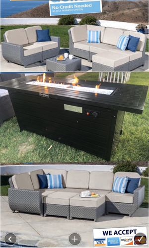 Brand new wicker patio set sectional fire pit propane.. sunbrella cushions for Sale in Riverside, CA