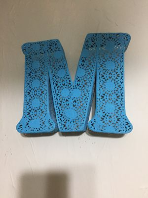"""8""""x8"""" metal turquoise letter """"M"""" lace pattern for Sale in Cartersville, GA"""
