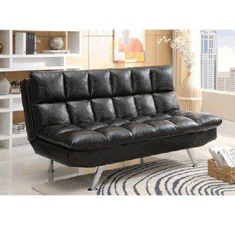Black tufted leather futon sofa bed (new)