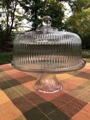 Glass Cake Plate With Dome Ribbed Pattern Cover for Sale in Rocklin, CA