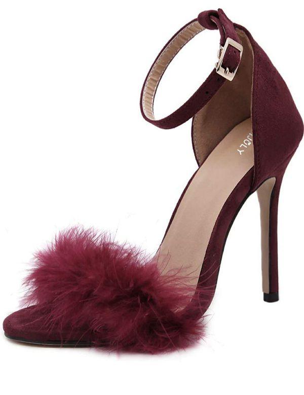 MM JULY Fluffy Burgundy Heels